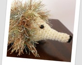 Green Fluffy Crochet Echidna/Hedgehog - Imaginative Play
