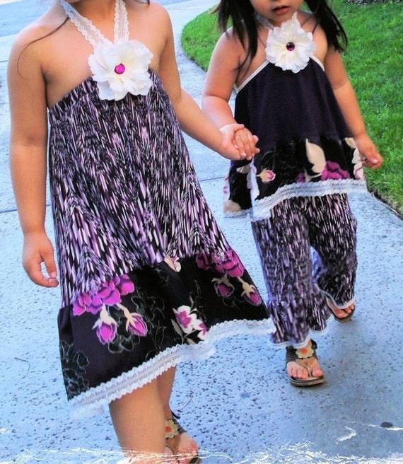 Purple Haze Girls 2 pc Outfit Set Ruffle Capri Pants and Halter Top with Vintage style lace trim 2T 3T 4T 5 6 7