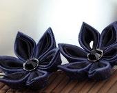 Flower Bobby Pins: Kanzashi Hair, Geisha, Blue and Black Silk - Night Storm