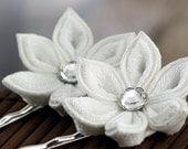 White hair pins, Japanese kanzashi, silk, flower, bridal, wedding, fascinator, bridesmaid, flower girl, woodland, snow blossom, UK, handmade
