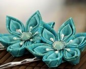 Aqua blue hairpins, teal bobby pins, bridal, wedding, turquoise Japanese silk flowers, fascinator, hair slides, mermaid, ocean, UK