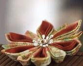 Autumn hair flower, Fall, woodland, orange, botanical, floral, Japanese, kanzashi hair clip, Asian, fabric, wedding, bridal, UK, handmade