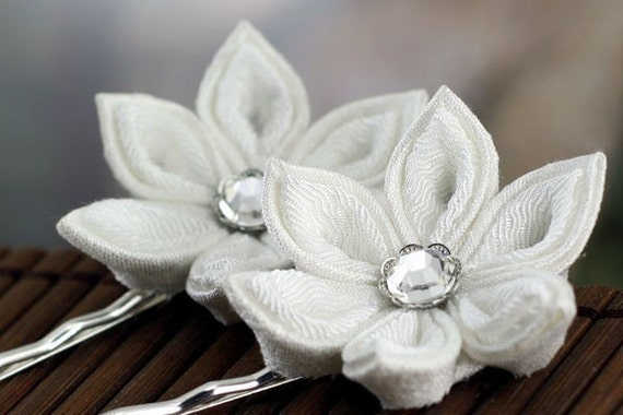 White hair pins, Japanese kanzashi, silk, flower, bridal, wedding, fascinator, bridesmaid, flower girl, woodland, snow blossom, UK