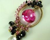 SALE Pink Lady - pink Topaz black Spinel and pink Kunzite 14k Gold filled wire pendant necklace