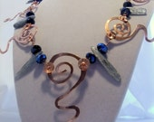 Dramatic Statement Necklace with Copper Swirls and Kyanite Drops