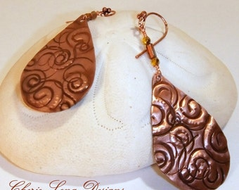 Nautilus Copper Dangle Earrings