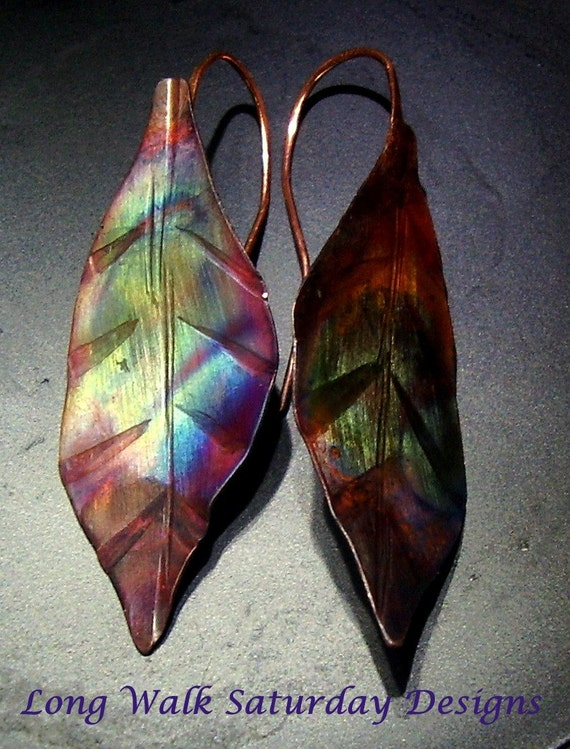 Autumn Leaves Copper Earrings