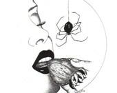ArtAfterDark Sweet Venom. 8 x 10 Pen Ink Giclee Print by Janette. Spider. Sexy. Fruit. Strawberry. Kiss. Fantasy. Surreal. Dark Love. Danger