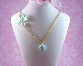 Mint green Macaroon charm necklace