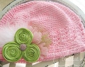 CHRISTMAS SALE  - Ready to Ship - Pink and lime toddler hat interchangeable bling rosettes feathers tulle