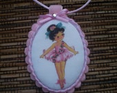 Vintage Ballerina fabric girls necklace