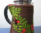 Bright berry SMALL french press coffee pot cozy, made with reclaimed vintage fabric.
