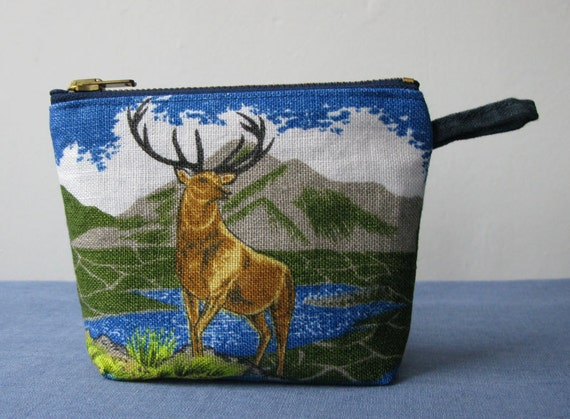 Proud stag zipper pouch, upcycled linen and cotton purse