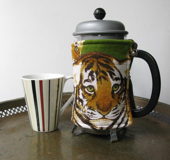 Tiger cubs -  french press coffee cozy, repurposed linen