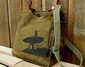 Surfing!  Personalized with Your Favorite Surf Spot. Vintage Military Satchel Bag - Hand Painted