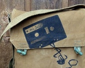 Mixed Tape Vintage Czech Military Canvas Messenger Bag Satchel -  Hand Painted