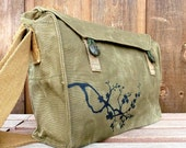 Cherry Blossoms - Vintage Czech Canvas Military Messenger Bag Purse. Hand painted