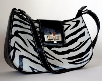 SALE...Zebra Shoulder Purse - Hand Painted