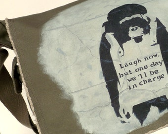 "Canvas Messenger Bag...Hand Painted Banksy ""Laugh Now"""
