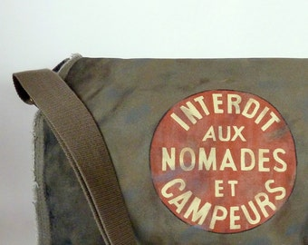 Canvas Messenger Bag, And the sign said...Hand Painted