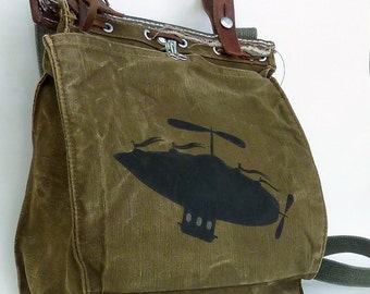 Ground Control To Major Tom.  Vintage Canvas and Leather Military Bag. Hand Painted Art.