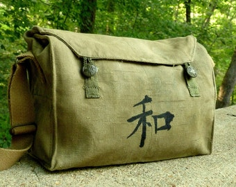 Kanji Peace on a Vintage Military Canvas Messenger Bag Satchel. Handpainted