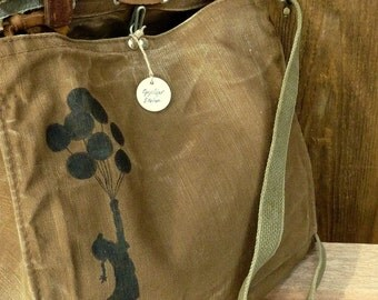 Banksy Balloon Girl on a Vintage Swiss Canvas Military Bag Satchel - Hand Painted