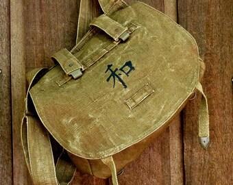 Kanji Peace on Vintage Linen Hemp Czech Military Messenger Bag Purse