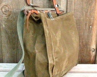 Vintage Canvas and Leather Military Bag / Swiss Satchel