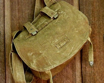 Vintage Military Messenger Bag. Czech Linen Hemp