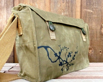 Cherry Blossoms - Trendy Vintage Czech Canvas Military Messenger Bag Purse. Hand painted