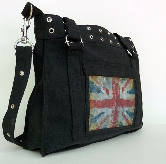 Pistol Belts and Tea. Hand Painted Vintage Military Style Bag