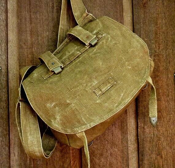 Vintage Military Messenger Bag. Czech Linen Hemp