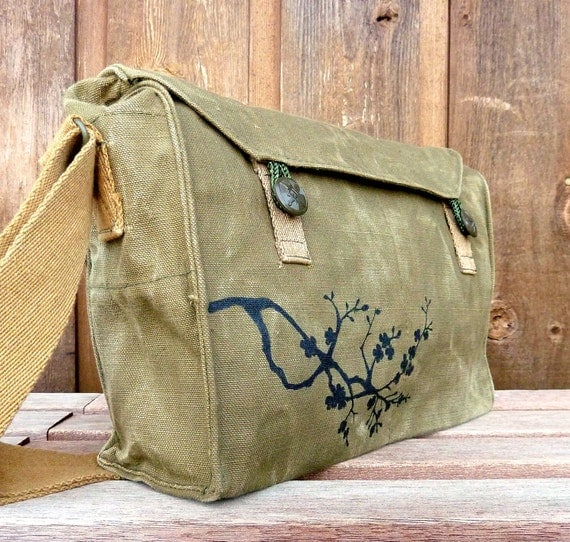 Cherry Blossoms - Vintage Czech Military Messenger bag. Hand painted