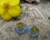 Blue Swarovski Flower Earrings