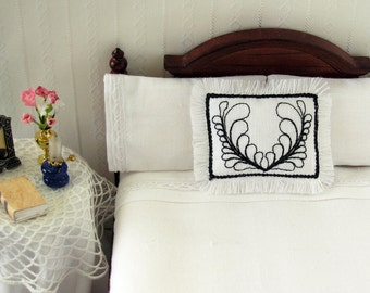 1:12 Pillow French Design - Dollhouse Miniature Black on White **Free Shipping**