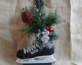 Floral Recycled Hockey Skate Centerpiece