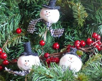 Miniature Snowman Head Christmas Tree Ornaments or Parcel Tie On
