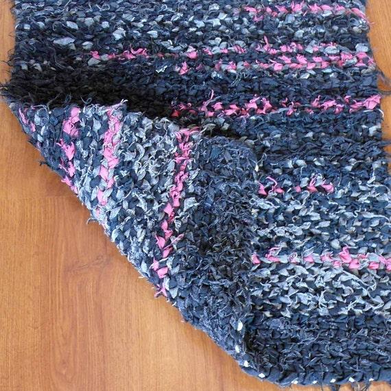 Handmade Black And Hot Pink Denim Reversible Rag Rug