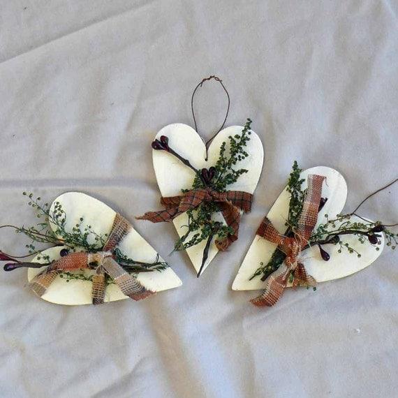 Wooden heart ornaments