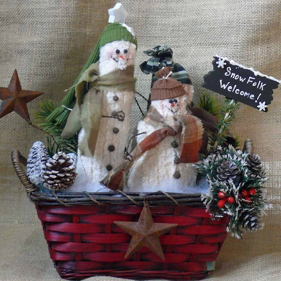 Trio of Snowmen Welcome Basket