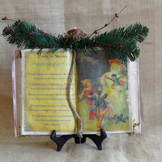 Primitive Frosty the Snowman Antiqued Book with Tea Light