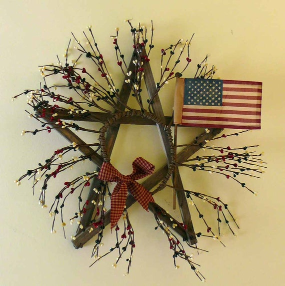 American Flag Barn Wood Rustic Star Wall Hanging