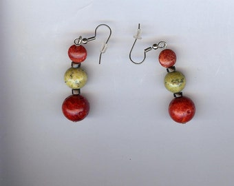 Earrings - coral and serpentine