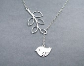Sterling Silver, Bird Necklace with Branch 'Melody' Lariat Style, Sterling Silver Rolo Chain and White Gold Plated