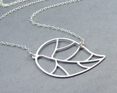 Modern Leaf Necklace - Sterling Silver Chain