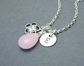 Personalized Necklace, Pink Jade and Cubic Zirconia Flower, Sterling Silver, Bridesmaid Jewelry