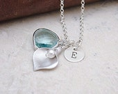 Personalized Silver Calla Lily Necklace with Aquamarine Glass, Custom Initial Necklace, Bridesmaid Jewelry
