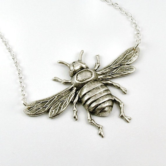 Bumble Bee Necklace in Antiqued Silver