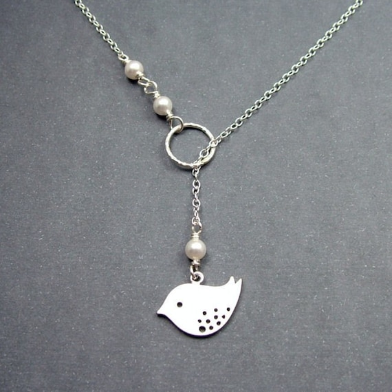 Bird Necklace 'Eleanor' Lariat Style Sterling Silver with White Swarovski Pearls